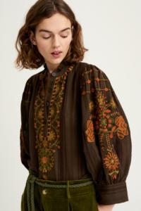Blouse motifs folk couleurs automne